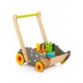 Leomark Walker dřevěný vozík  ježek s kostkami