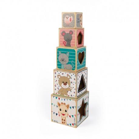Dřevěná pyramida žirafa Sophie
